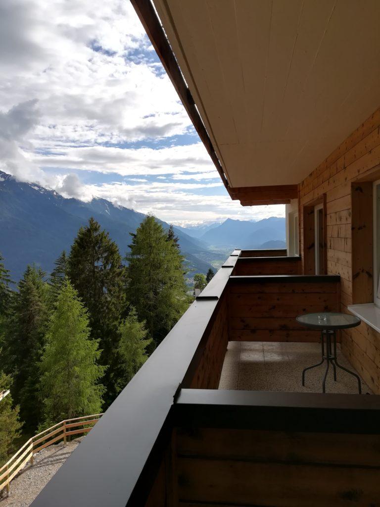 Blick vom Balkon des Hotel Tyrol in Mösern
